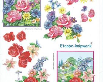 paper cut card 3D pink flowers 2
