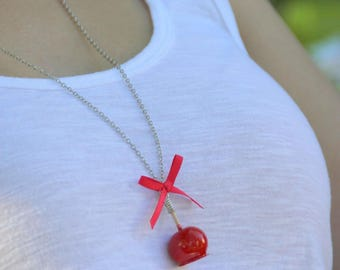 Apple Red love knot necklace