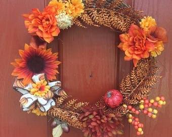 Wreath, Fall Wreath, Handmade, Front Door Wreath