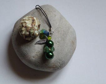 JEWELRY BAG OR MOBILE HAS HANDMADE GREEN GLASS BEADS