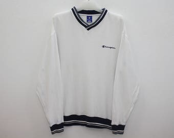 Champion Sweatshirt V Neck White Size M
