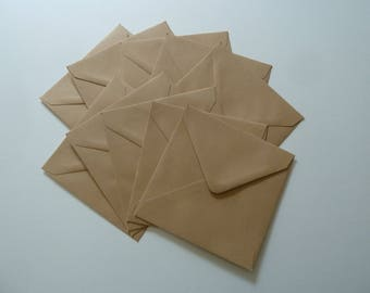 10 square envelopes kraft 14 x 14 cm