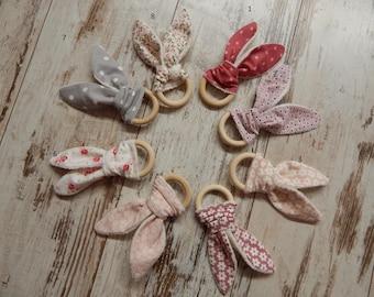 Rabbit in wood and fabric Montessori teething ring