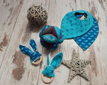 Montessori type teething ring with rabbit ears