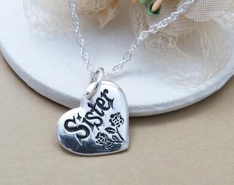 Sister Necklace, Sister Heart Necklace, Sister Gift, Gift for Sister, Sterling Silver Sister Necklace, Sister Birthday gift, Gift for Her