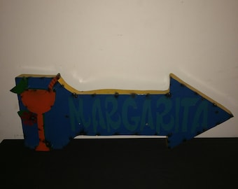 Recycled Metal Arrow Margarita Sign - Blue and Orange