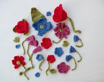 Decorative flowers blue fuchsia purple crocheted