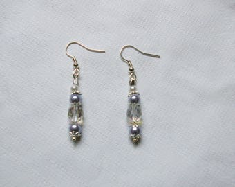 Silver earrings lilac beads white and transparent