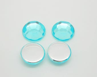 20 x 10mm (l1146) turquoise blue faceted round rhinestone