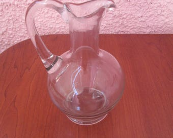 Glass transparent jug, Vintage jug, Old glass Jug for alcohol, Glass pitcher, Home decoration, Тable accessor, Glass jug, Vintage Kitchen