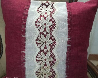 Burgundy pillow with lace inserts macrame