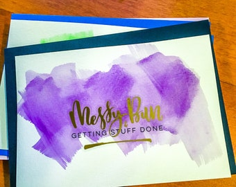 Messy Bun & Getting Stuff Done Gold Foil on Purple Watercoloring Greeting Card with Lined Envelope