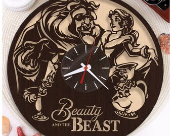 Beauty and the Beast clock/Disney clock/Wooden clock/Plywood clock/Handmade clock *W155 Disney lover gift/HDF plywood clock/Wall clock