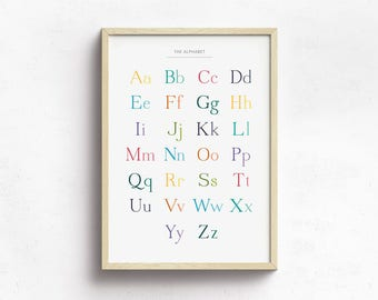 Alphabet Poster for Children's Bedroom or Nursery, Printable Digital Download, Colourful ABC Poster
