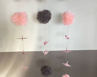 Origami Crane mobile and its tulle PomPoms