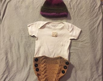 Cable knit baby bloomers
