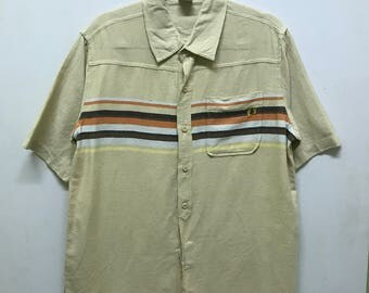 Rare!!! Hang Ten Short Sleeves Small Logo  Embroidered Striped Full Buttons A Pocket