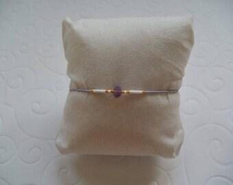 Bracelet Swarovski pearls and Miyuki purple cord