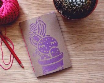 Sketchbook,cactus, NOTEBOOK,Travelers,handmade, Journal, Memory Journal, Artist Gift,Art Notebook,cute,stamp,cactus,kawai