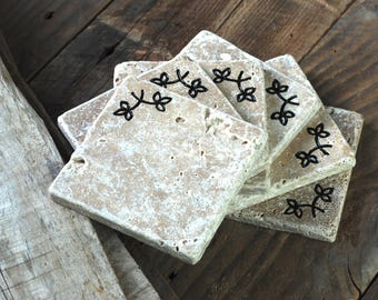 Travertine Coasters/Engraved/Set of Six/Coffee Coasters/Housewarming Gift/Wedding Gift/Gift for Her/Christmas Gift/Branches