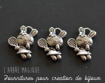 sold per 10 silver colored metal rabbit charm
