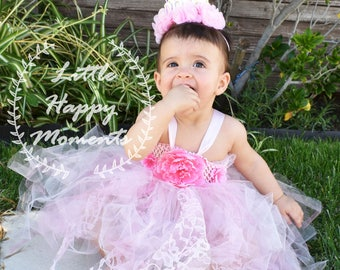 valentines day dress, baby girl first birthday dress, hand made tutu dress, birthday crown, 1st birthday dress, princess dress