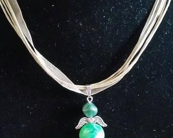 Green fairy pendant necklace