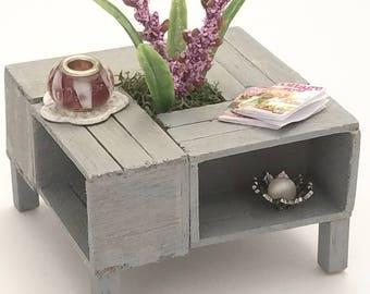 Miniature Coffee Table, Dollhouse Coffee Table, Dollhouse Furniture, Dollhouse Miniatures, Crate Table, Living Room, Handmade