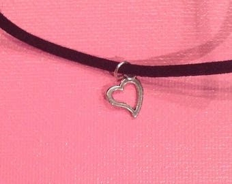 Black Leather Heart Charm Necklace