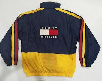 RARE!!! Vintage 90's Tommy Hilfiger Embroided Big logo Spell Out Hip Hop Streetwear jacket windbreaker