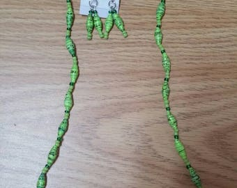 Jewellery with recycled paper beads.