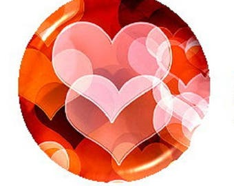 orange heart cabochon, 25mm