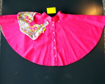 Spinning reversible skirt, Pocket, detachable, pink and flowers and gray birds