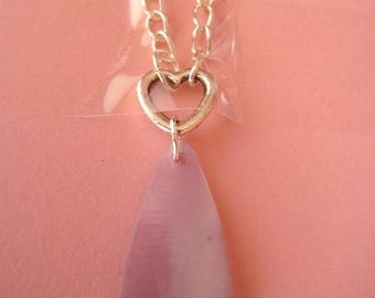 necklace on silver chain, heart drop metal mother of Pearl, single model