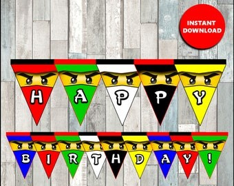 80% OFF Ninjago Triangle Banner instant download, Printable Lego ninjago party Banner, ninjago Banner