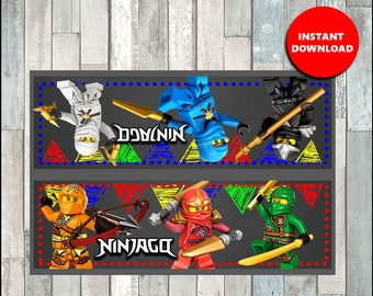 80% OFF Ninjago Toppers instant download, Printable lego ninjago Bags toppers, ninjago Treat bags toppers