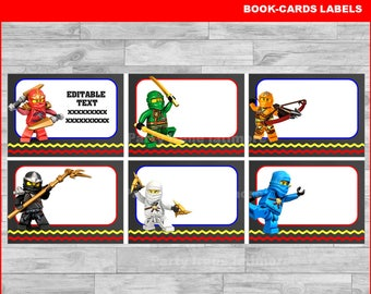50 % OFF Ninjago Printable Cards, tags, book labels, stickers, kids cards, gift tags, labeling, scrapbooking EDITABLE TEXT