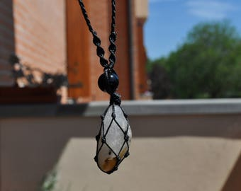Tourmalinated quartz and Obsidian necklace