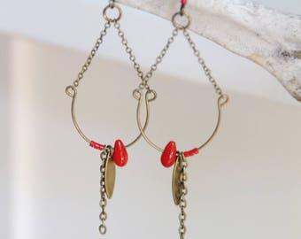 Drop earrings / brass & red coral bead