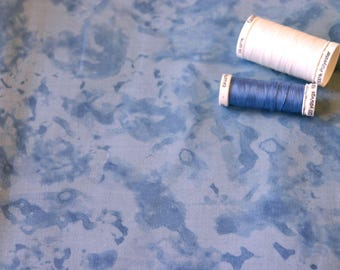 Mottled blue pattern patchwork fabric