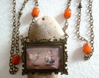 Long rectangular cabochon, glass beads