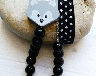Necklace long beads and black Fox and Ribbon
