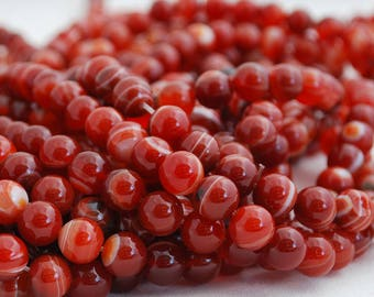 """High Quality Red Banded Agate Semi-precious Gemstone Round Beads - 4mm, 6mm, 8mm, 10mm sizes - 16"""" strand"""