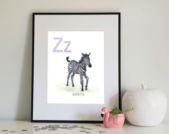 Z is for Zebra, alphabet series - Print of Original Watercolour