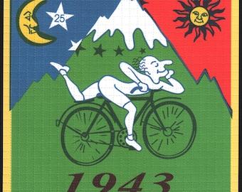 Albert Hofmann Green Bike Ride 1943 - Large Blotter art