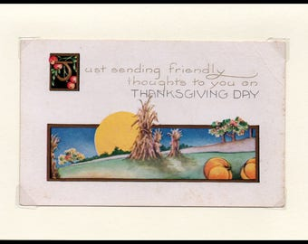 Friendly Thoughts Thanksgiving Vintage Greeting Card