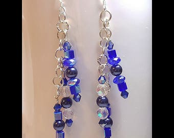 Something Blue Waterfall Bridal Wedding Earrings