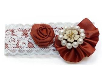 Clip barrette hair clip type lace ecru satin rust red flower white pearls