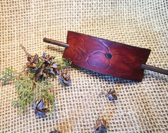 Leather Retro Style Barrette with a Stick, Hair Barrettes, Hippie Barrettes, Tooled Leather
