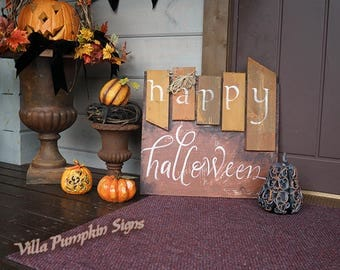 Happy Halloween Sign - Wooden Halloween Sign - Fall decor - Primitive Hand Made Halloween Sign